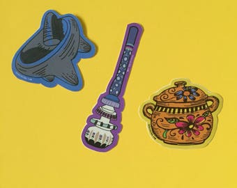 3-Pack Cocina Series Stickers - Molinillo, Molcajete, and Olla, Hand Illustrated