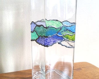 Hand Painted Stained Glass Vase