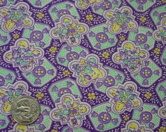 Vintage Feedsack Fabric Small Print Purple,Aqua,Yellow 30 x 37""