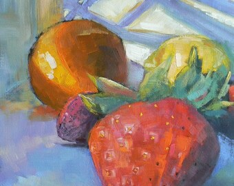 "Impressionist art, Fruit Painting , Daily Painting, 8x10 Still Life, ""Fruit Salad"" by Carol Schiff, Sale"