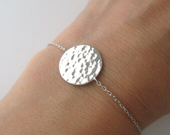 Round hammered Silver 925/1000th coin bracelet
