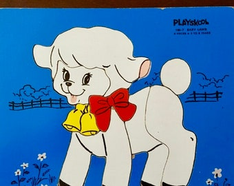 Vintage Playskool Baby Lamb Wooden Puzzle