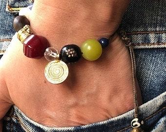 Boho Charm Bracelet, Gemstone Bracelet, Adjustable Bracelet,Evil Eye Bracelet, Vintage Charm bracelet, One Of A Kind Bracelet