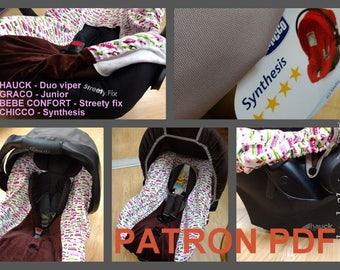 PDF pattern DIY car seat cover / Patron et tuto PDF housse coque auto (graco junior, streety fix)
