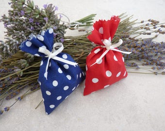 2 Lavender bags White-dotted, red, blue, lavender blossoms, fragrance pillows