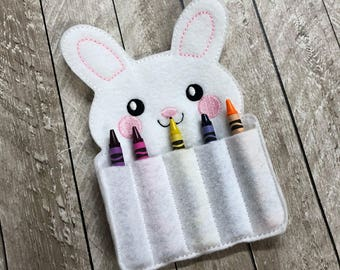 Bunny Rabbit Easter Crayon Holder - Crayon Holder - Travel Coloring - Easter Basket Gift - Kids Easter Crayon Holder - Easter Gift