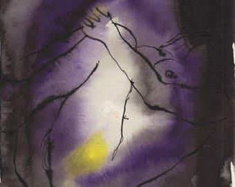 Aura #9- Original ink & watercolor drawing