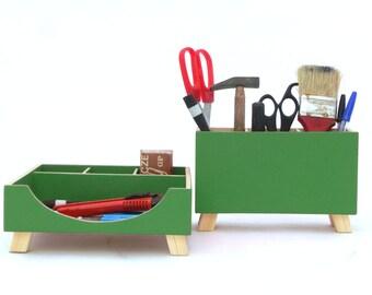 Green Desktop Organizer, Wood Desk Organizer, Desktop Set, Green Desk Organizer, Wooden Desk set, Green Boxes, Office Accessories, for Him