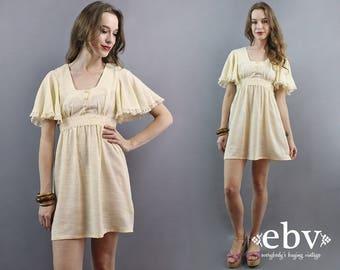 Babydoll Dress Hippie Dress Hippy Dress Hippie Wedding Dress 1970s Dress 70s Dress Cream Dress Flutter Dress Boho Dress Bohemian Dress S