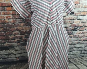 Vintage 1980's Striped Dress / Casual Dress / Summer Dress/ A Line Dress/ Sunshine Alley Dress