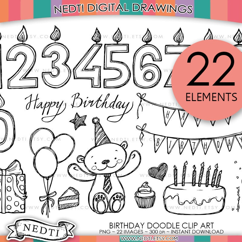 Birthday doodle clip art png instant download happy zoom stopboris Choice Image
