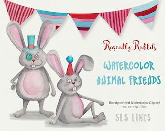 Bunny Rabbits watercolor clipart | grey and pink bunnies clip art | trendy rabbit hipster bunny watercolors |  clipart by SLS Lines