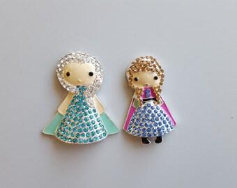 """Rhinestone Frozen Elsa Anna Embellishment 2""""X3"""" Frozen Elsa Anna Pendant Princess Pendant Flat Back Embellishment"""