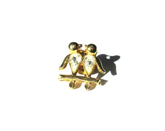 Lapel Pin Gold Rhinestone Bird Pair Branch