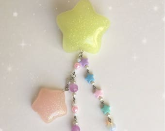 Kawaii Fairy Kei jewelry Two Way Star Clip Brooch