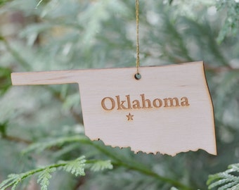 Natural Wood Oklahoma State Ornament
