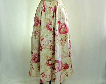 Vintage ~ Midi Skirt ~ Floral ~ Button Front ~ Flared ~ Cotton ~ Country Store ~ Small
