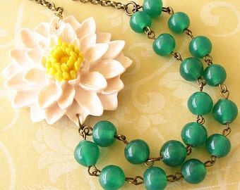 Green Necklace Statement Necklace Multi Strand Beaded Necklace Flower Necklace Gift For Her