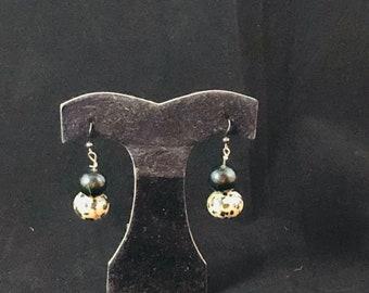Dalmatian Jasper and Black Onyx Earrings