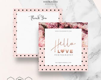 Thank You Card Template Printable Thank you Note, Photography Branding, Photographer Templates, Photoshop Template Thank You Card Note