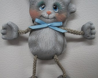 ceramic poseable kitty,cat refrigerator magnet