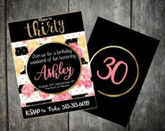 30 corail d'Invitation d'anniversaire, noir et or pour elle
