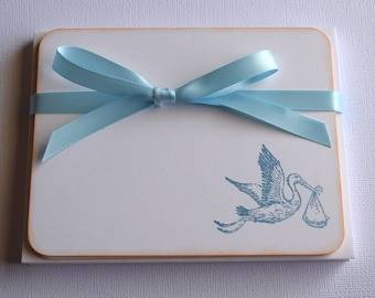 Baby Flat Note Cards - Stork - Set of 10