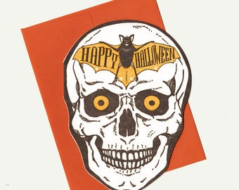 letterpress happy halloween skull card