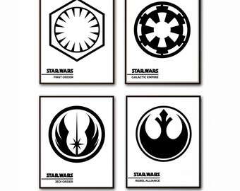 Star Wars Wall Print, Minimalist Star Wars, Galactic Empire, First Order, Jedi Order, Rebel Alliance, Han Solo, Princess Leia, Yoda, Luke