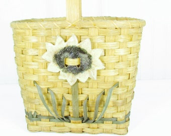 Vintage purse, wicker purse, basket,straw purse,hand made purse,designer purse,OOAK purse,flower purse,