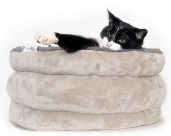 Cat bed, cat furniture, designer small dog bed TEDDY BEAR, cat basket, pet basket, cat sleeping bag, round cat bed,snuggle cat cave