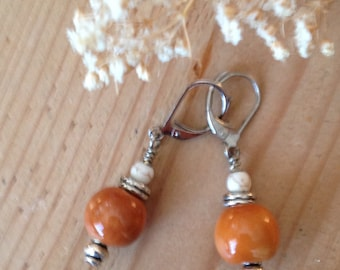 Orange Kazuri bead earrings