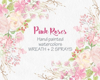 Watercolor wreath of hand painted pink roses; wedding clip art; weddings; watercolor clip art; instant download
