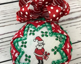 Santas Secret Gift fabric quilted Christmas ornament