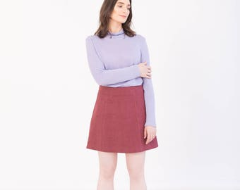 Burgundy A line skirt - High waisted skirt - Eco friendly hemp clothing - Mini skirt