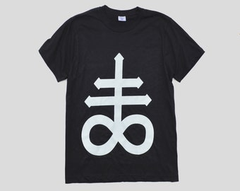 Satanic Cross Unisex T-shirt Hipster Indie Swag Dope Hype Black White Mens Womens Cute Festival Halloween Gothic Fashion