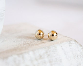 14k Gold Studs - 7mm Ball Earrings - Simple Gold Studs - Gold Posts - Tiny Earrings - Large Round Studs - Lightweight Studs - Solid 14k Gold