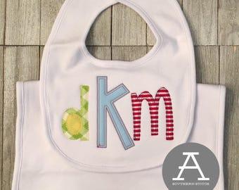 Bib + Burp Cloth Set | Baby Gift | Appliqué |  Monogram