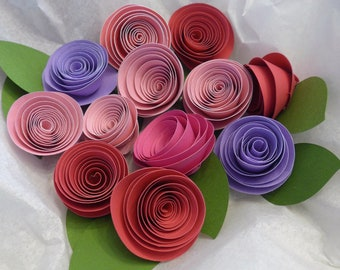 12 Loose Rolled Paper Roses