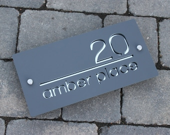 Contemporary House Number Door Sign Large Landscape 30cm x 15cm Original & Unique Laser Cut Bespoke/Customised with Road Name Laser Cut