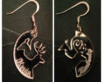 Personalized Interlocking Buck and Doe Earrings