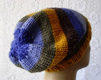 Striped slouchy hat, mustard gold olive green blue brown, toque, winter hat, mens womens knit hat, striped hat, slouchy hat, chunky knit hat