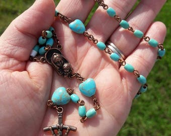 Turquoise Blue Stone Hearts and Copper Madonna and Child Rosary Prayer Beads, Catholic Gift, Wedding, First Communion, Confirmation, Baptism