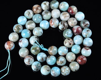 Natural Larimar Smooth Round Gemstone Loose Beads 15.5 Inches Per Strand, Size 6mm/8mm/10mm/12mm.R-S-LAR-0338