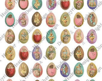 Victorian Vintage Tiny Easter Eggs Shabby Chic Bunny Chics Digital Collage sheet Printable