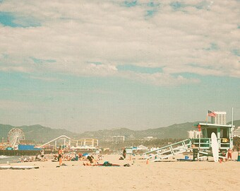 Santa Monica beach print, travel photography, LA photo, Santa Monica pier photograph, retro, summer print, coastal art, ferris wheel print