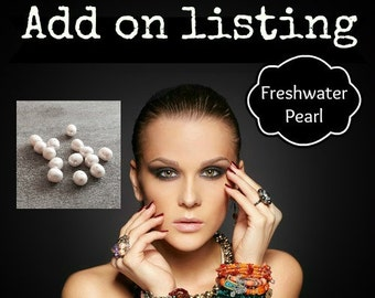 ADD-ON CHARM Genuine Freshwater White Pearl, 8-9mm, June birthstone, Add to purchase, Add a Pearl,