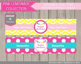 INSTANT DOWNLOAD Printable Pink Lemonade Editable Happy Birthday Water Bottle Labels / Bright Pink Lemonade Collection / Item #416