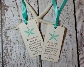 Starfish Beach Wedding Gift Tags, Destination Wedding Gift Tags, Robin's Egg Blue Wedding Tags - set of 50
