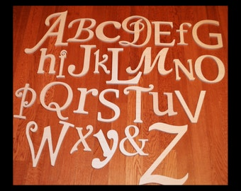 ON SALE-Wooden Alphabet Letters, Unfinished Wood Letters in Various Fonts and Sizes, Complete Set, Ready To SHIP